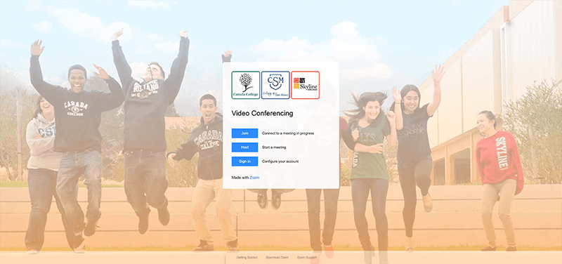 SMCCCD Zoom landing page