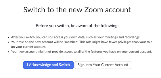 Terms of migration showing 'Acknowledge and Switch' button