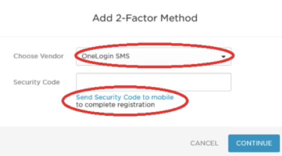 Select OneLogin SMS