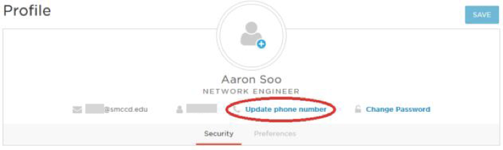 OneLogin profile update phone option