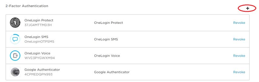 Screenshot of OneLogin, listing available authentication methods for a sample user.