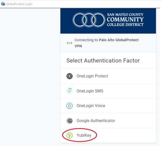 List of OneLogin 2-factor authentication options with Yubikey highlighted.